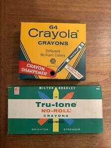 Vintage Lot Crayola No.64 Crayons Binney & Smith Sharpener Unopened! MB No Roll