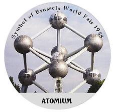 BRUSSELS - ATOMIUM - ROUND SOUVENIR FRIDGE MAGNET - NEW - GIFT / XMAS