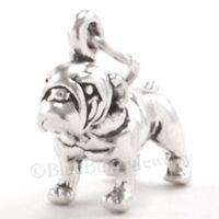 BULLDOG Bull Dog Charm Pendant solid 925 Sterling Silver 3D