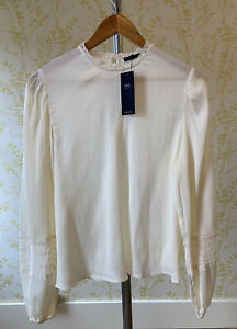 *BNWT* M&S cream lace neck textured blouse 12 balloon part lace sleeves RRP £25
