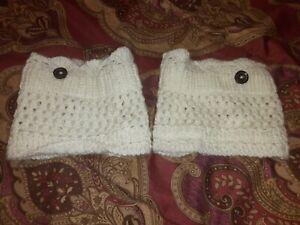 Cream Colored Crochet Boot Cuffs Button Accent