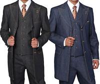 Men's 100% Cotton Denim Suit With Pants &Vest  Double contrast stitching 5285