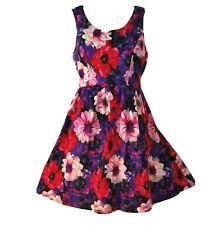 Point Dress Floral Fifties Retro Circle Skirt Sleeveless Mini Pin Up Size Small