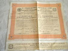 Vintage share certificate Stocks Bonds De Riazan-Oural Chemins de fer railway 08