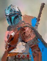 "ORIGINAL Abstract Mandolorian Star Wars Bounty Hunter Mando Art Painting 14"""
