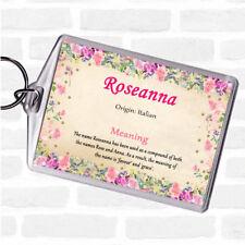 Roseanna nom signifiant Sac Tag Keychain Porte-clés Floral