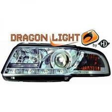 LHD Projector Headlights Pair LED Dragon Clear Chrome For Audi A4 8D2 94-98