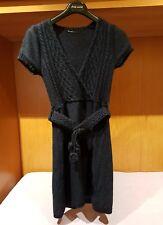 Abito Vestito Donna blu in lana con fascia Trendy Fashion Made in Italy tg.44
