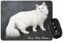 White Cat 'Love You Mum' Computer Mouse Mat Christmas Gift Idea, AC-105lymM