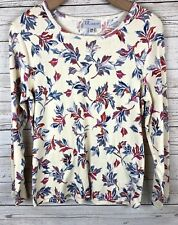 The Tog Shop PM Petite Medium Floral Pullover Cotton Knit Blouse Shirt j5