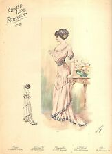 VICTORIAN  LADIES FASHION  PRINT GRAND LUXE PARISIEN NO. 21 FROM MAG- VINT ORIG