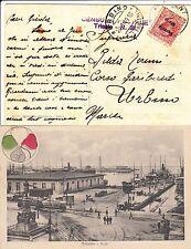 VENEZIA GIULIA-10c(22)-Cartolina MOLO TRIESTE viaggiata x Urbino 20.1.1919