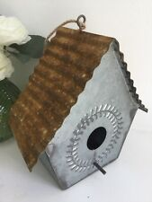 A Sweet 20cm Distressed Rustic Hanging Tin Bird House