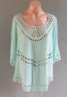 💜 CITY CHIC Peasant Tunic Blouse Top Green Mint Size M PLUS Buy7=FreePost L799