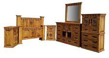 Queen Size Real Wood Honey Wax Bedroom Set Western Rustic Texas Star