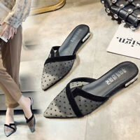 Women's Polka Dot Mesh Mules Sandals Low Heels Pointed Toe Casual Shoes