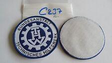 THW Armabzeichen Rund 85mm gewebt weiß auf blau 1 Stück mit Klett (c237)