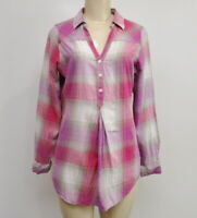 Columbia Plaid Henley Long Sleeve Top Woman's Size Small S Pink Gray