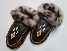 BEADED NATIVE AMERICAN MOCCASINS/SLIPPERS - DOUBLE SOLED FAUX FUR CUFF 7 1/2 IN