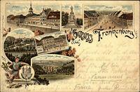 Frankenberg Sachsen 1894 Litho-AK Mehrbildkarte ua. Marktplatz Schloßstrasse uvm