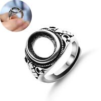 Adjustable Jewelry Hollow Rings Blanks Set Inlaid Antique Silver