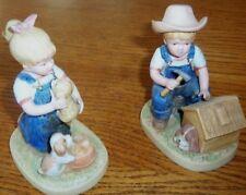"""Homco Denim Days """"Puppy Love"""" Figurines 1985 - #1503 - Mint"""