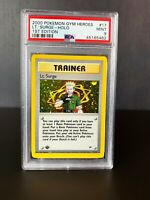 Lt. Surge Trainer Holo Pokemon Card 1st Edition Gym Heroes WoTC 17/132 PSA 9