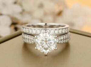 2.00 Ct Round Cut Diamond Solitaire Engagement Bridal Set 14k White Gold Finish