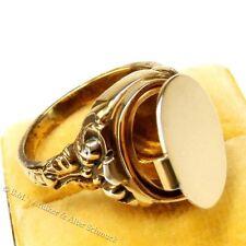 antiker Art Deco Ring Geheimfach Siegel Medaillon Herren Gold auf Silber 20 / 63