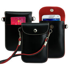 Black Shoulder Bags Case PU Leather Pouch Purse Universal For Most Mobile Phone
