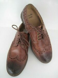 CLARKS MENS CASUAL LEATHER UPPER BROGUES NATURAL BROWN SHOES SIZE 8 1/2