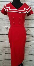Betty Page by Tatyana Red Wiggle Dress Portrait Collar Rockabilly Retro Sz L