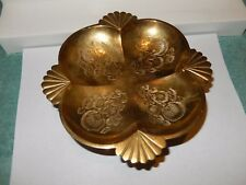 """VINTAGE BRASS SERVING BOWL/PLATE CANDY DISH COIN DISH VIMTO INDIA 7""""x 2.75"""" tall"""