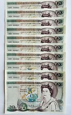 Set of 10 Clean Consecutive Uncirculated 1984 English GBP Sterling £20 Notes