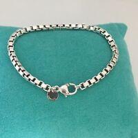 "9"" Tiffany & Co Large Mens Unisex Sterling Silver Venetian Box Link Bracelet"
