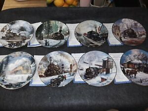 Hamilton Collection set of 8 Winter Rails Plate Collection by Ted Xaras Trains