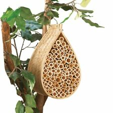 Mason Bee House Habitat Hotel Home Solitary Hanging Bamboo Wood Brown Beige