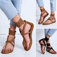 Women's Ladies Summer Strap Woven Toepost Ankle Flat Sandals Roman Shoes Size