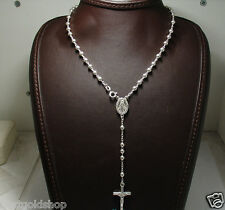 """4mm 18"""" Italian Solid Rosary Cross Chain Necklace Real 925 Sterling Silver"""