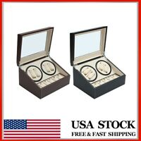 PU Leather Luxury Automatic Rotation 4+6 Watch Winder Storage Case Display