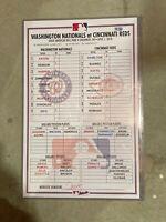 Washington Nationals Cincinnati Reds 4/1/18 Lineup Card