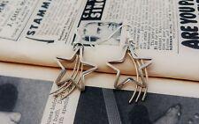 Vintage 3-D Shooting Star sterling silver drop earrings