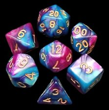 New 7 Piece Turquoise Purple Gemini Polyhedral Dice Set – Turquise Bag – RPG D&D
