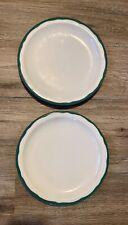 2 Vtg Restaurant Ware Syracuse China Dinner Plate Green Wavy Trim