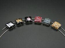 2 Acrylperlen mit Fassungen, Rechteck, Steinchen zum aufnähen, Perlen