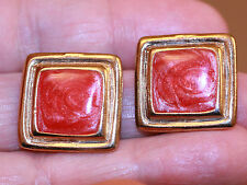 Vintage Jewelry Earrings Goldtone Clip Red Marbled Centers Square 1 4/16""