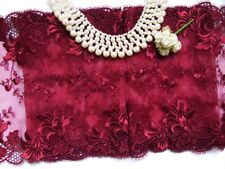 """7""""  Burgundy(Wine) Embroidered Flora Net Lace Trim-1 Yard (T110E)"""