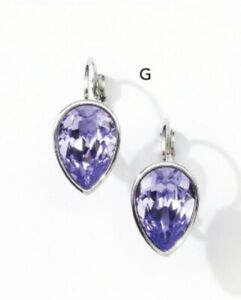 Touchstone crystal By swarovski Pear Drop Earrings Purple