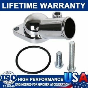 Chrome Water Necks Thermostat Housing Outlet For SBC BBC Chevy 45° 350 454 Block