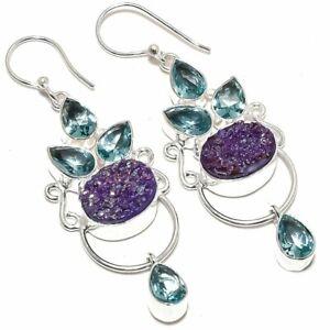 "Purple Titanium Druzy, Apatite Silver Fashion Jewelry Earring 2.7"" SE8780"